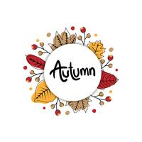 Autumn leaves banner with circle vector