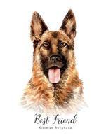 Retrato em aquarela de um cão pastor alemão