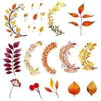 Hermosa colección de hojas de otoño de acuarela