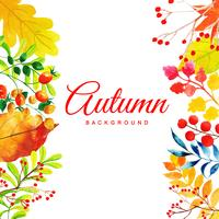 Beautiful Watercolor Autumn Leaves Background