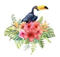 Watercolor Toucan bird in tropical bouquet.