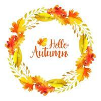 Guirnalda de hojas de otoño acuarela hermosa