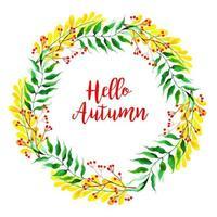 Coroa de folhas de outono em aquarela bonita