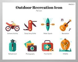 Outdoor recreation icons flat pack