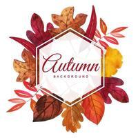 Hermoso marco de hojas de otoño acuarela