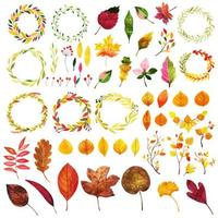 Beautiful Watercolor Autumn Elements Collection