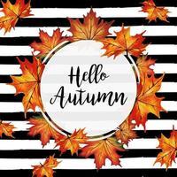 Marco de hojas de otoño acuarela con fondo de rayas negras