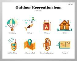 Paquete plano de iconos de recreación al aire libre