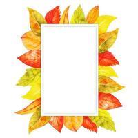 Marco de hojas de otoño acuarela