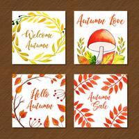Coleção bonita de cartões de outono em aquarela