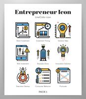 Entrepreneur icons LineColor pack vector