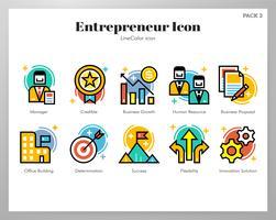Paquete de LineColor de iconos de emprendedor