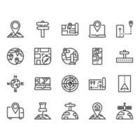 Map and  navigation icon set