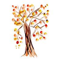 Árbol de otoño de acuarela