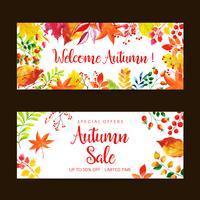 Insieme dell'insegna di vendita di autunno dell'acquerello
