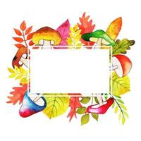 Watercolor Autumn Leaves With Mushrooms Frame