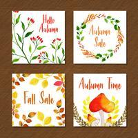 Collection de cartes automne belle aquarelle