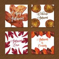 Schöne Aquarell-Herbst-Karten-Sammlung