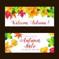 Conjunto de banner de venda linda aquarela outono vetor