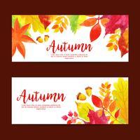 Beautiful Watercolor Autumn Sale Banner Set vector