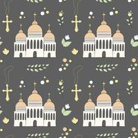 Seamless pattern of christening church