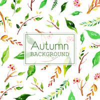 Beautiful Watercolor Autumn Greenery Background
