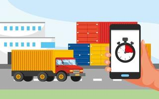 Trucking service with hand holding phone with stopwatch graphic