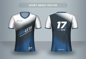 Blå halvton fotbollströja design. Enhetlig T-shirt framifrån och bakifrån.