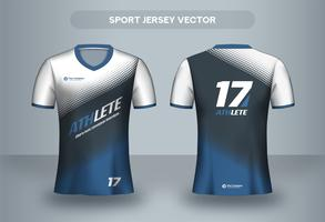 Blue halftone football jersey design. Uniform T-shirt front and back view. vector