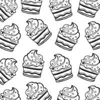 Patrón de cupcake blanco y negro