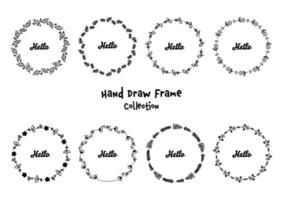Set of hand drawn floral round frames with the word hello