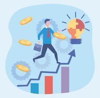 Businessman with idea bulb and coins