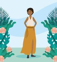 Junge Frau mit Freizeitkleidung in der Nähe von Pflanzen
