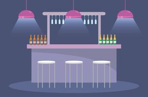 Bar com banquetas e garrafas de champanhe