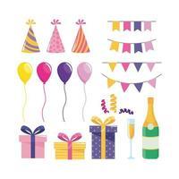 Conjunto de decoraciones de fiesta con globos y regalos