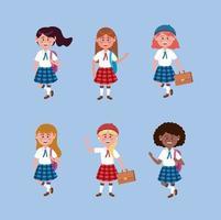 Conjunto de alumnas con uniforme y mochila