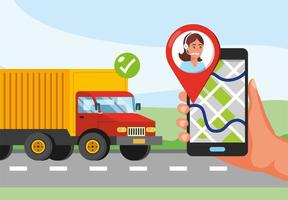 Trucking service with hand holding phone with gps location