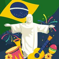 Christ redeemer statue with Brazilian flag and objects  vector