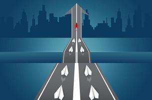 Gli aerei di carta sono in competizione su strada per una destinazione
