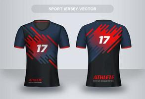 Blue and red modern football Jersey design. Uniform T-shirt front and back view.