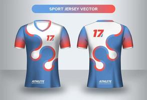 Circular blue and red football Jersey design. Uniform t-shirt front and back view.