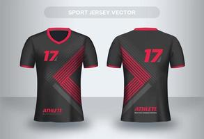 Red triangle Football Jersey design. Uniform T-shirt front and back view.