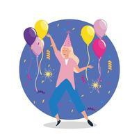 Mujer bailando con globos y gorro de fiesta