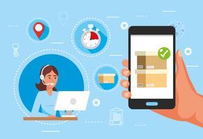 Female online customer service representative