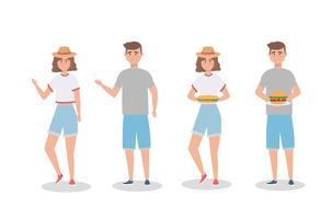 Set of women and men with sandwich and hamburger vector