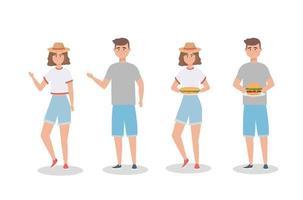 Uppsättning av kvinnor och män med smörgås och hamburgare