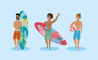 Set of men wearing bathing suits  with surfboards