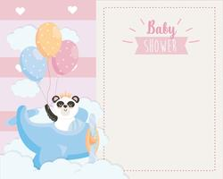 Scheda dell'acquazzone di bambino del panda in aeroplano