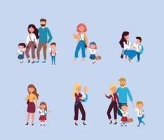 Conjunto de madres y padres que llevan a los niños a la escuela