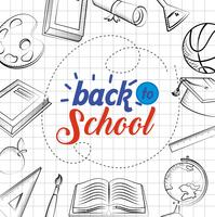 Back to school poster with drawings on graph paper vector